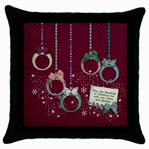Christmas Ornaments, Pillow, 1 Side By Mikki   Throw Pillow Case (black)   Mxqqmgtkbvxk   Www Artscow Com Front