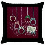 CHRISTMAS ORNAMENTS, PILLOW, 1 SIDE - Throw Pillow Case (Black)