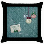 Victorian Christmas/ornament- pillow (1side) - Throw Pillow Case (Black)