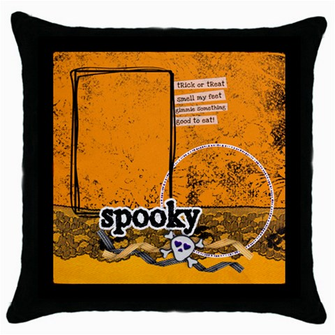 Spooky Halloween  Pillow (1side) By Mikki   Throw Pillow Case (black)   Rh7elk6e2zp1   Www Artscow Com Front