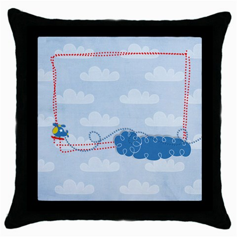 Tiny Pilot Helicopter  Pillow (1side) By Mikki   Throw Pillow Case (black)   I7aoatohwwqi   Www Artscow Com Front