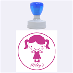 Girl with pigtails--Rubber Stamp Round (L) - Rubber Stamp Round (Large)