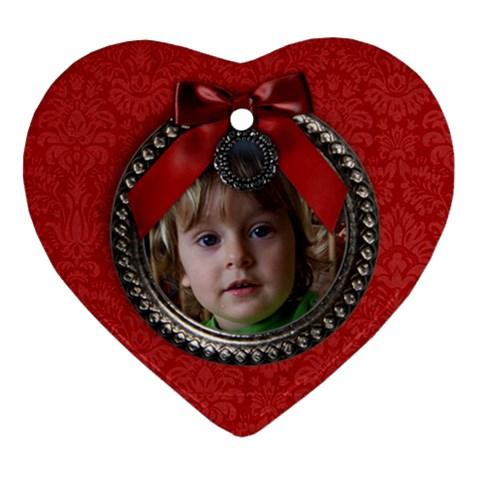 Christmas/wreath Ornament (heart, 1 Side) By Mikki   Ornament (heart)   Bg5mkvju9214   Www Artscow Com Front