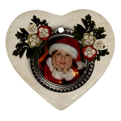 Christmas/flowers Ornament (heart, 2 Sides) By Mikki   Heart Ornament (two Sides)   Zokuqkq9j1e9   Www Artscow Com Front