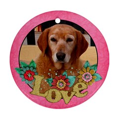 Love/shabby/flowers Round Ornament (2 Sides) By Mikki   Round Ornament (two Sides)   Arws9vek4hyy   Www Artscow Com Front