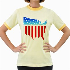 USA Flag Map Colored Ringer Womens  T-shirt