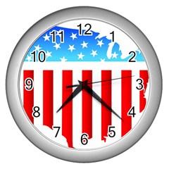 Usa Flag Map Silver Wall Clock by level3101