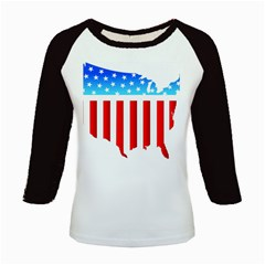 Usa Flag Map Long Sleeve Raglan Womens'' T Shirt by level3101