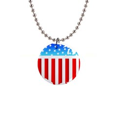 Usa Flag Map Mini Button Necklace by level3101