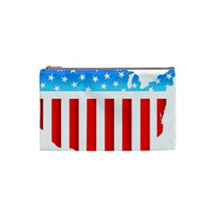 Usa Flag Map Small Makeup Purse by level3101