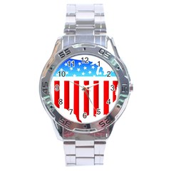 Usa Flag Map Stainless Steel Analogue Watch (round) by level3101