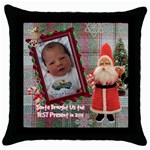 Santa Brought Us the BEST Present in 2011 plaid Throw Pillow Case 18 inch - Throw Pillow Case (Black)