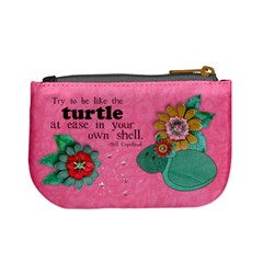 Floral Shabby Turtle  Mini Coin Purse By Mikki   Mini Coin Purse   52sceylord0j   Www Artscow Com Back