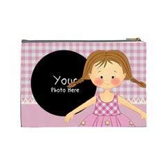Pink Girl Cosmetic Bag Large By Lillyskite   Cosmetic Bag (large)   Wtfbda0qga6z   Www Artscow Com Back