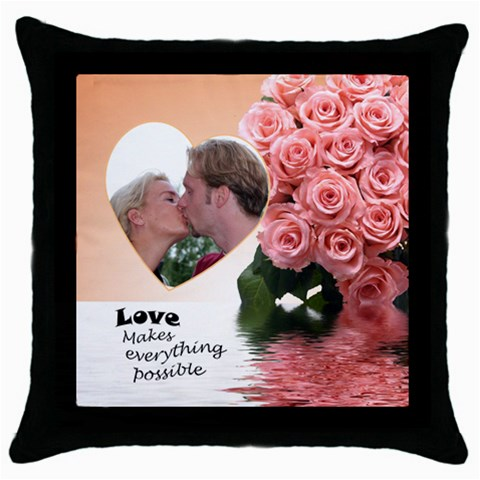 Apricot Possible By Deborah   Throw Pillow Case (black)   Tzecyfz8tbp9   Www Artscow Com Front