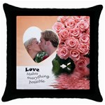 Apricot Possible - Throw Pillow Case (Black)