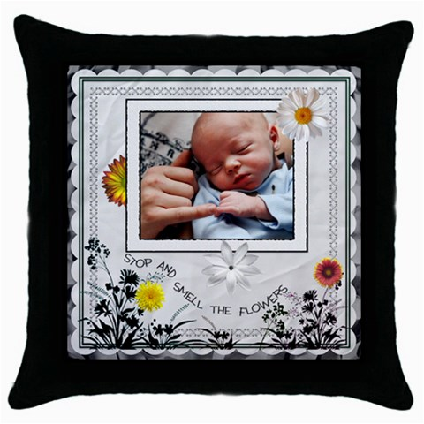 Stop And Smell The Flowers Throw Pillow By Lil    Throw Pillow Case (black)   X4auf58d9avs   Www Artscow Com Front