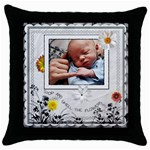 Stop and Smell the Flowers Throw Pillow - Throw Pillow Case (Black)