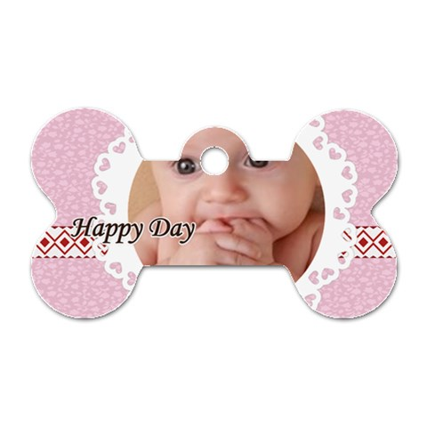 Happy Day By Joely   Dog Tag Bone (one Side)   Yqq60z5k1ok0   Www Artscow Com Front