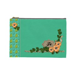 Cosmetic Bag (large)  Orange Flowers By Jennyl   Cosmetic Bag (large)   Ieuxvq1al14a   Www Artscow Com Front
