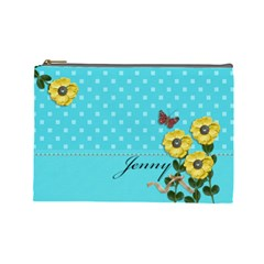 Cosmetic Bag (large)   Yellow Flowers 4u By Jennyl   Cosmetic Bag (large)   Ls0j0qyfvez4   Www Artscow Com Front