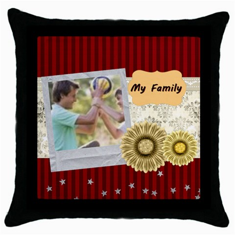 My Family By Joely   Throw Pillow Case (black)   E7rut06fmo59   Www Artscow Com Front