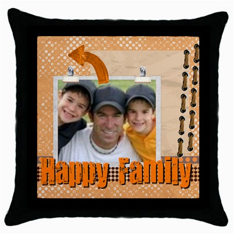 Happy Family By Joely   Throw Pillow Case (black)   Q4h9362r8swz   Www Artscow Com Front