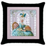 marie w pink panel pillow pink copy Throw Pillow Case (Black)