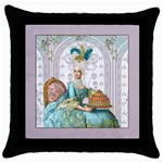 marie panel w mauve background Throw Pillow Case (Black)