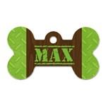 Manly/wood grain- bone dog tag (2 sides) - Dog Tag Bone (Two Sides)