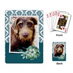 Teal damask/flowers--Playing cards (single design) - Playing Cards Single Design