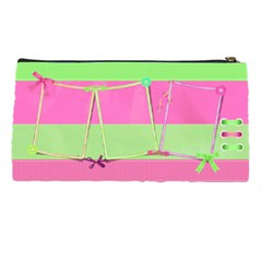 Pink And Green Pencil Case By Deborah   Pencil Case   Zs0atcjjji37   Www Artscow Com Back