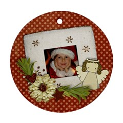 Shabby Christmas/snowman/angel Round Ornament (2 Sides) By Mikki   Round Ornament (two Sides)   8essg348900a   Www Artscow Com Back