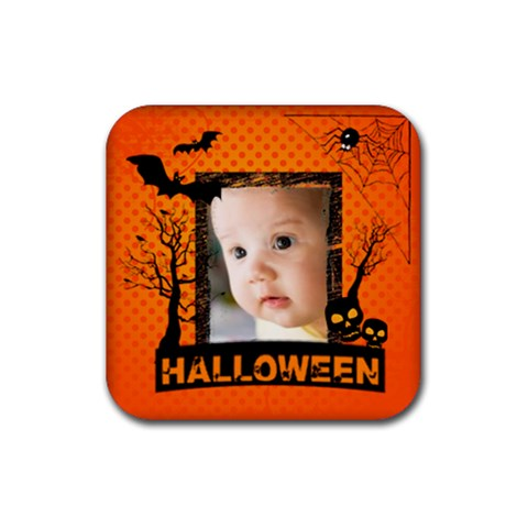 Halloween By Joely   Rubber Coaster (square)   Sodht1yddinz   Www Artscow Com Front
