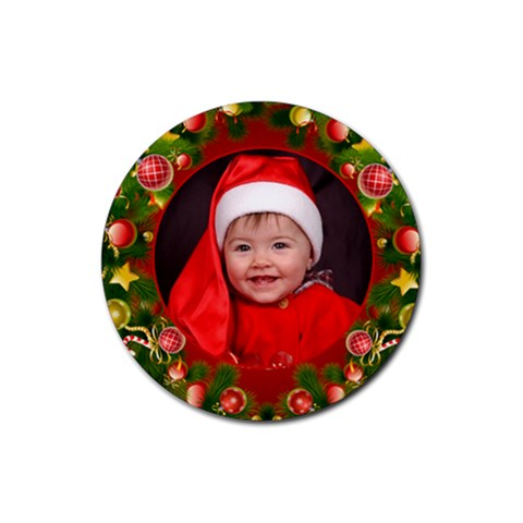 Merry Christmas Coaster By Deborah   Rubber Coaster (round)   Qm7fxb47f5ox   Www Artscow Com Front