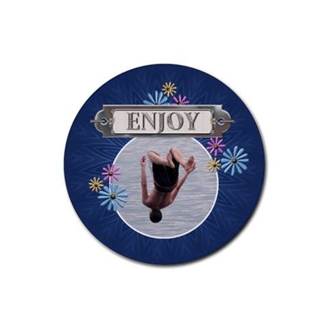 Enjoy Drink Coaster By Lil    Rubber Coaster (round)   J3jrwb9e20t6   Www Artscow Com Front