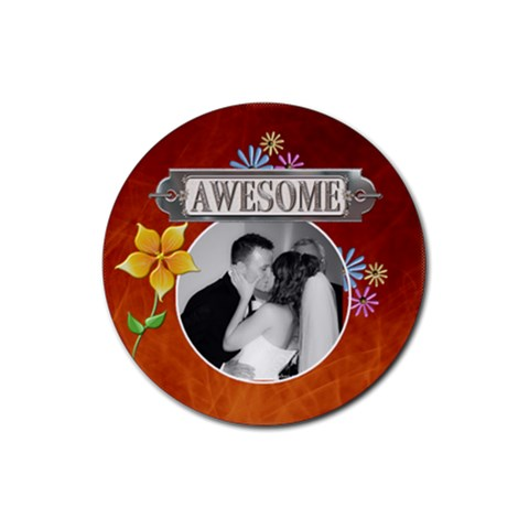 Awesome Drink Coaster By Lil    Rubber Coaster (round)   581k7liyf0vz   Www Artscow Com Front