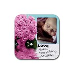 Pink roses love coaster - Rubber Coaster (Square)