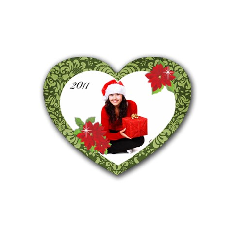 Christmas  Heart Coaster By Mikki   Rubber Coaster (heart)   Pvdzyuvy0e7x   Www Artscow Com Front