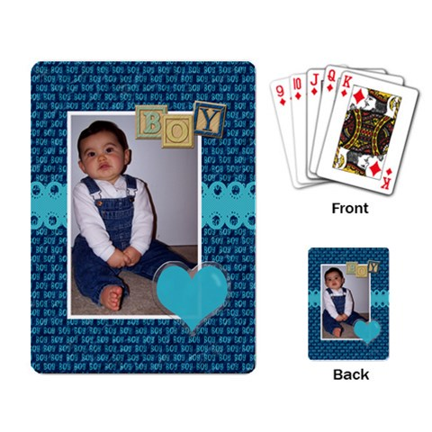 Boy Playing Cards By Angela Anos   Playing Cards Single Design   Ygbc1qc0h8ar   Www Artscow Com Back