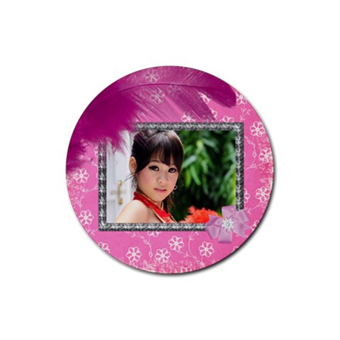 Saucy In Pink Coaster By Deborah   Rubber Coaster (round)   P72ofztcysn1   Www Artscow Com Front