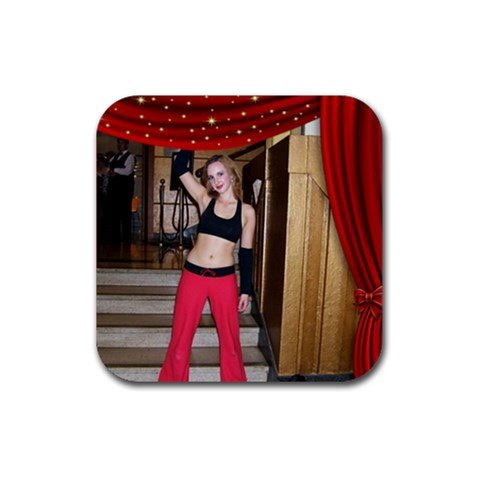 Dance,drama, Vacation Coaster Red By Deborah   Rubber Coaster (square)   N1f41czk96ig   Www Artscow Com Front
