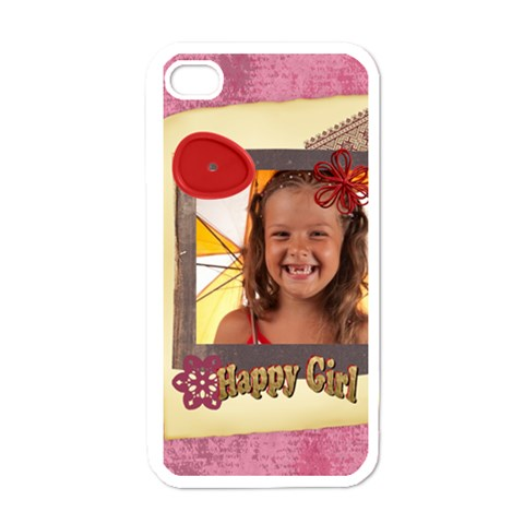 Happy Girl By Joely   Apple Iphone 4 Case (white)   I2vlcm1hxb04   Www Artscow Com Front