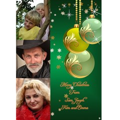 Green Bauble 5x7 Christmas Card By Deborah   Greeting Card 5  X 7    1c0s030dxgo3   Www Artscow Com Front Cover