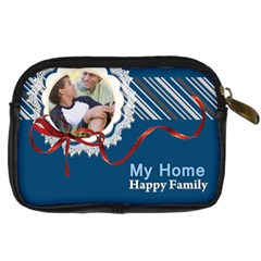 My Home  Happy Family By Joely   Digital Camera Leather Case   768kas1n9xhq   Www Artscow Com Back