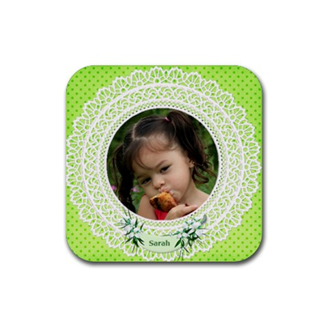 Personalised Square Coasters (green) By Deborah   Rubber Coaster (square)   43en36jpl7mb   Www Artscow Com Front