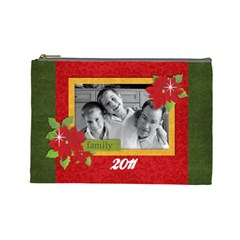 Christmas/family Cosmetic Bag (l)  By Mikki   Cosmetic Bag (large)   4kd29nudqqci   Www Artscow Com Front