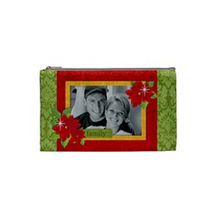 Chrismtas/family Cosmetic Bag (s)  By Mikki   Cosmetic Bag (small)   Phlxgch7mrpn   Www Artscow Com Front