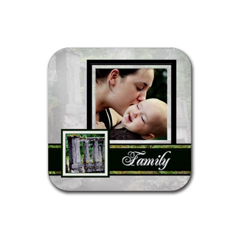 Family Coaster By Patricia W   Rubber Square Coaster (4 Pack)   G76872yr5039   Www Artscow Com Front