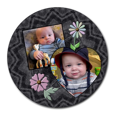 Charcoal Floral Round Mouse Pad By Lil    Round Mousepad   Ovechakonyel   Www Artscow Com Front